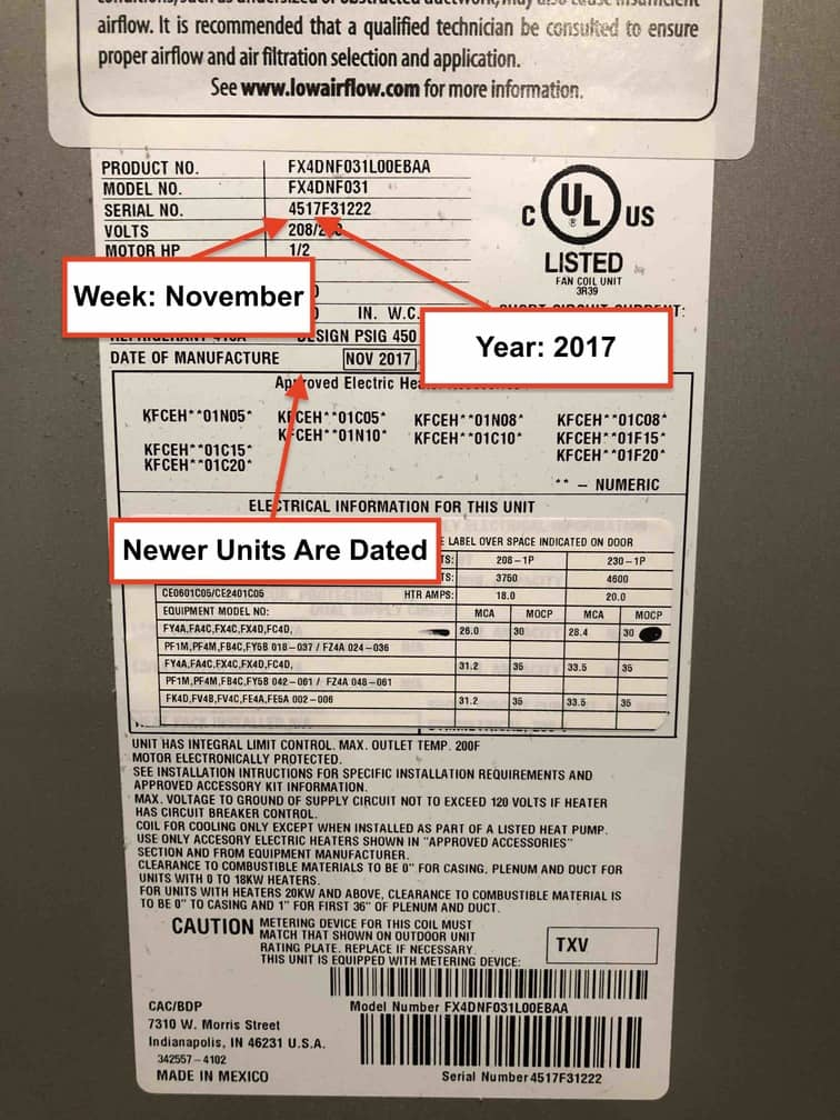 Bryant Air Handler/Heater Label with Age Marked