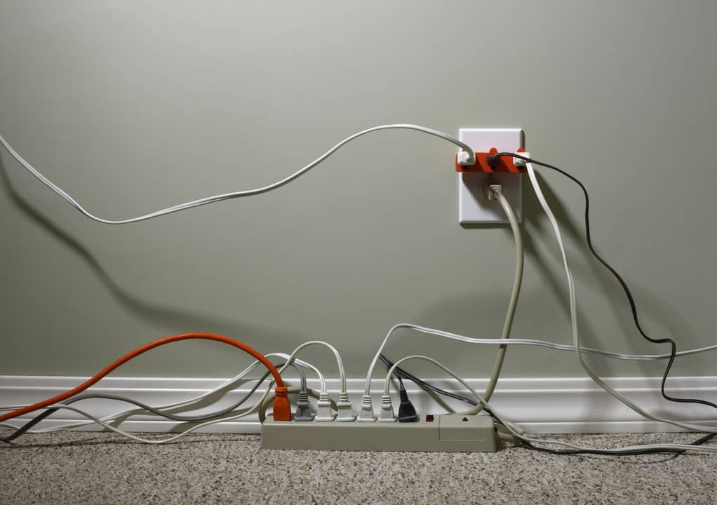 a lot of outlets plugged in