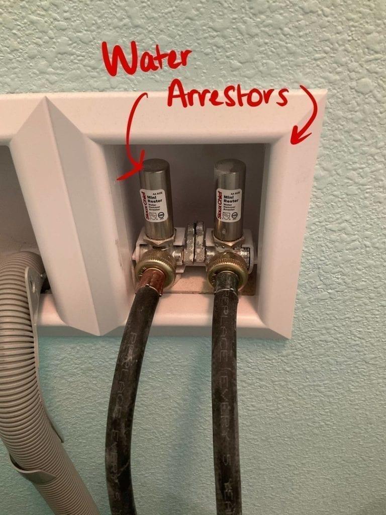 water hammer arrestor at laundry valves