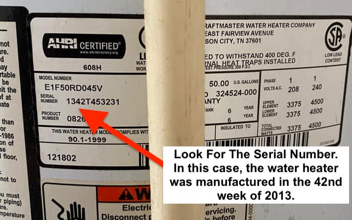 Whirlpool Water Heater Label - Serial number with decoding to find the age