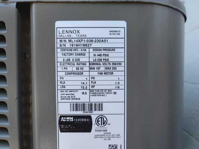 Lennox AC Label
